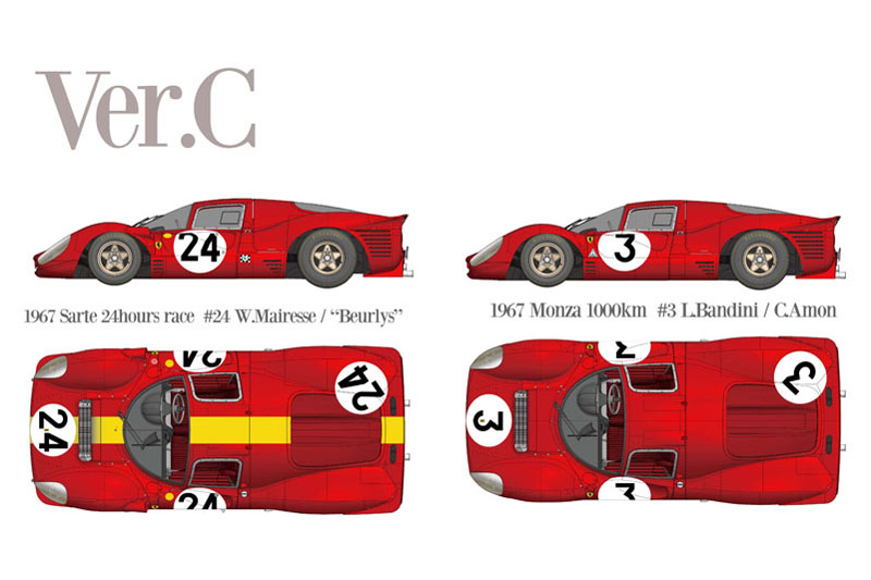 HIRO K793 1/43 Ferrari 330P4 Berlinetta Ver.C 1967 LM #24 / Monza 1000km #3
