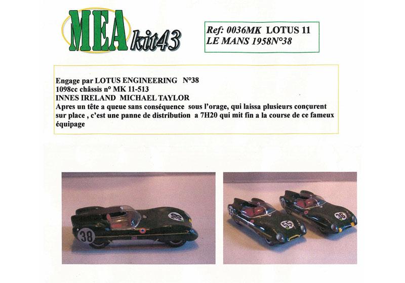 Mea kits 36 1/43 ロータス 11 LM 1958 No.38/55