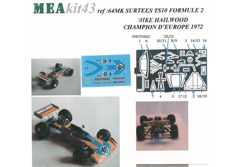 Mea kits 64 1/43 サーティース TS10 F2 Mike Hailwood Champion Europe 1972