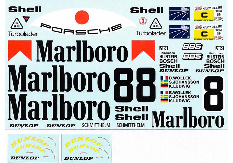 MSMクリエイション D202 1/12 ポルシェ 956 1983 Le Mans #8 マルボロ デカール 【メール便可】