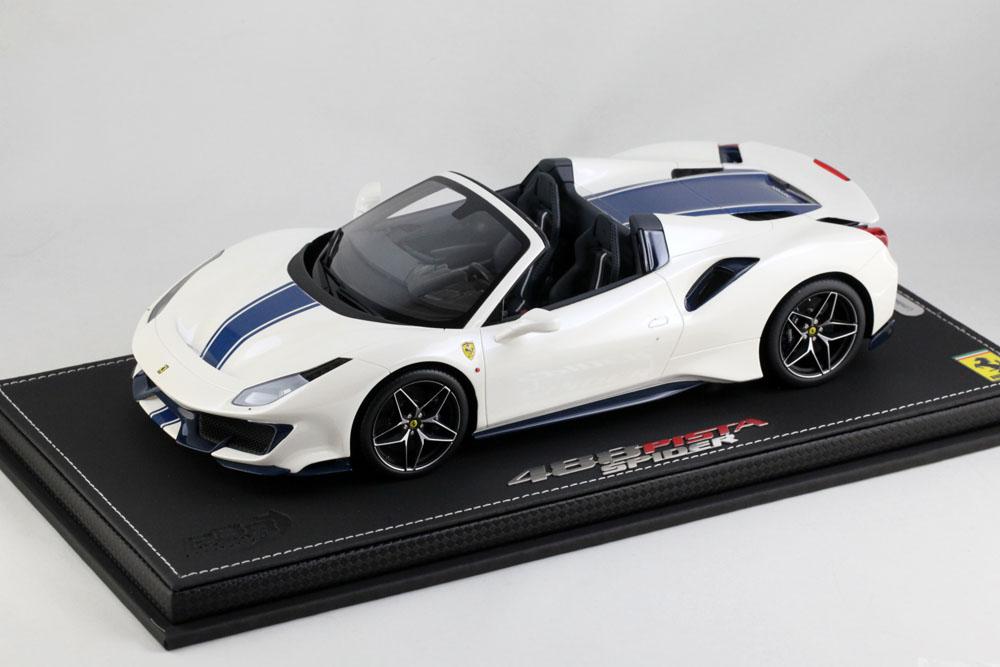 BBR P18162AV 1/18 Ferrari 488 PISTA Spider Bianco Italia /Blue Nart Stripe Limited 228pcs (ケース付)