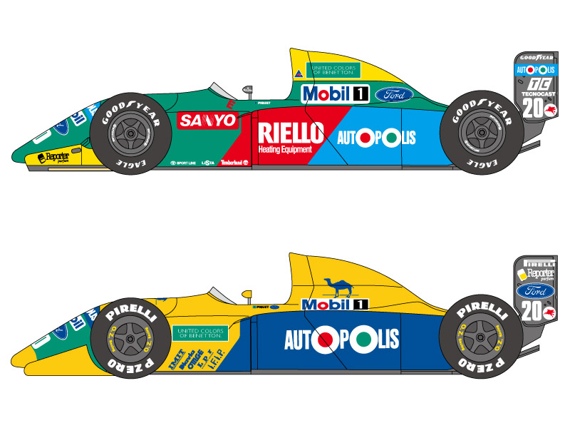 SHUNKO D180 1/24 Benetton B190 & B190B decal set (for Hasegawa)