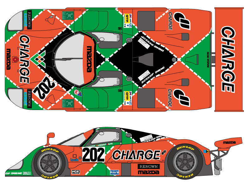 SHUNKO D304 1/24 Mazda 767B Charge 1989 LM decal set (for Hasegawa)