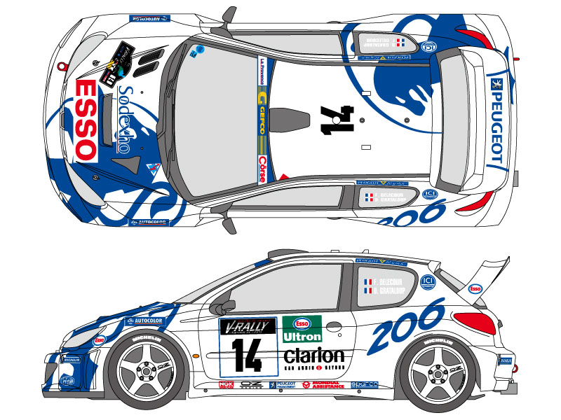 SHUNKO D346 1/24 Peugeot 206 WRC 1999 Corse decal set (for Tamiya)