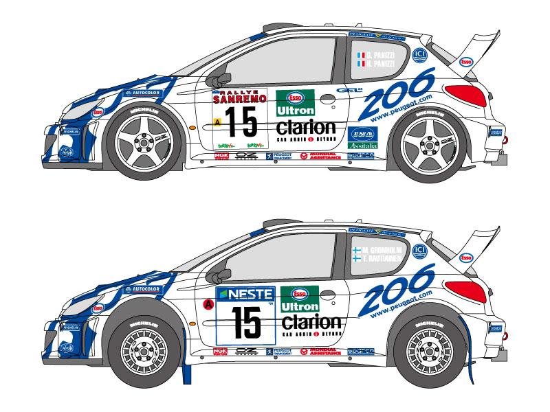 SHUNKO D347 1/24 Peugeot 206 WRC 1999 Finland /Sanremo decal set (for Tamiya)