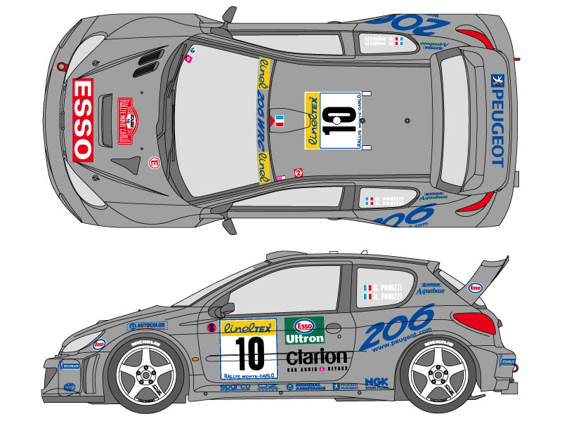SHUNKO D348 1/24 Peugeot 206 WRC 2000 Monte Carlo decal set (for Tamiya)
