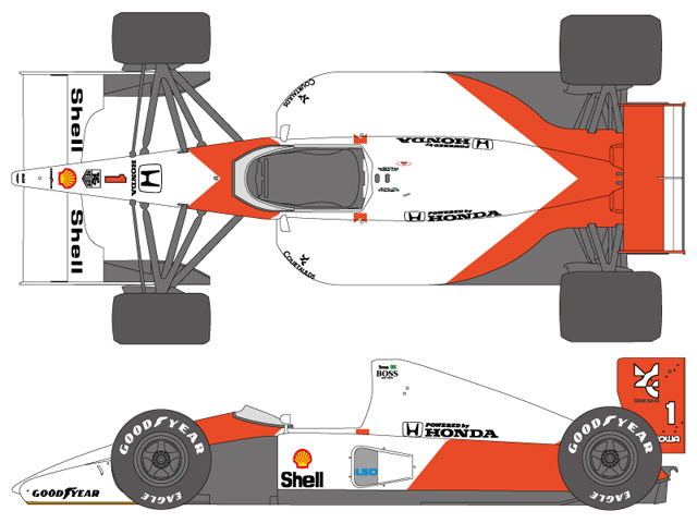 SHUNKO D353 1/12 McLaren MP4/6 decal set (for Tamiya)
