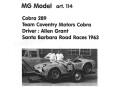 MG Model art.114 Ford Cobra 289 Coventory Team 1963