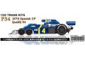 【お取り寄せ商品】 STUDIO27 TK2073 1/20 Tyrrell P34 Spanish GP Qualify 1976 #4 Conversion Kit