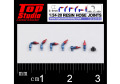 TOP STUDIO TD23194 1/24-20 (0.9mm) resin hose joints