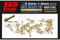 TOP STUDIO TD23245 1.0mm Hex Rivets (B) Brass 【メール便可】