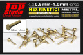 TOP STUDIO TD23252 0.5mm Hex Rivets (C) Brass 【メール便可】