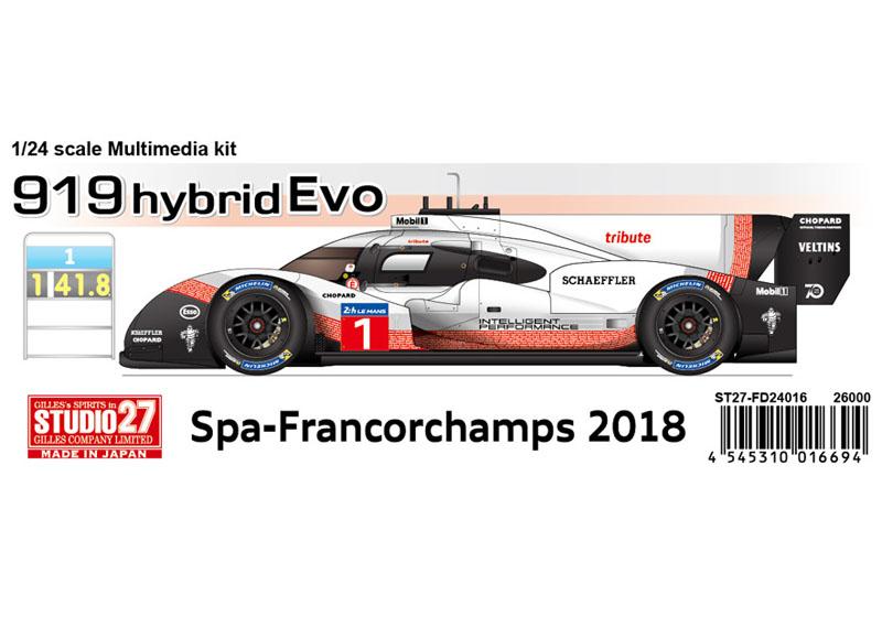 STUDIO27 FD24016 1/24 Porsche 919 Hybrid Evo Spa-Francorchamps 2018