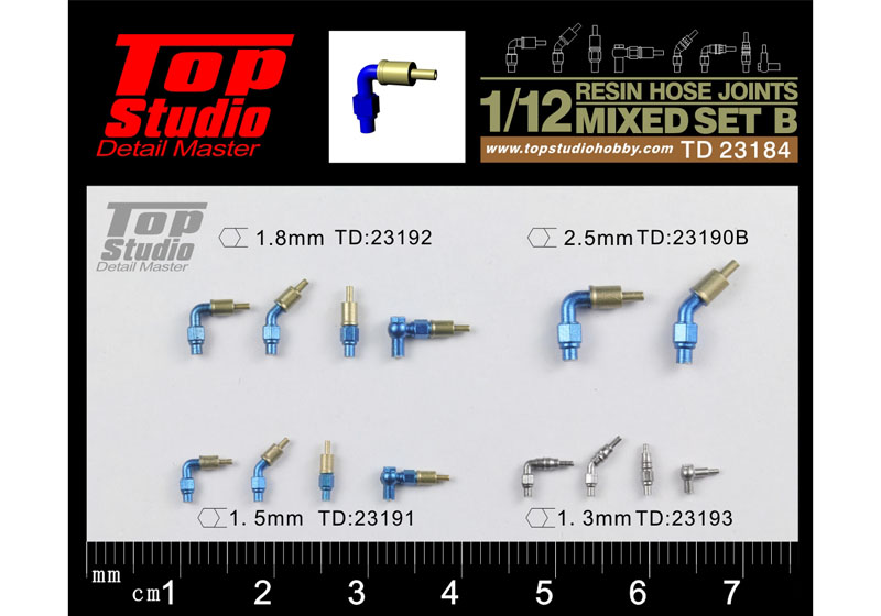 TOP STUDIO TD23184 1/12 resin hose joints mixed set B