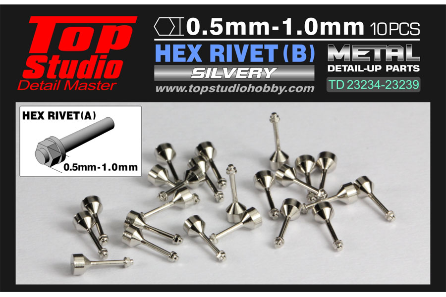 TOP STUDIO TD23237 0.8mm Hex Rivets (B) Silvery 【メール便可】