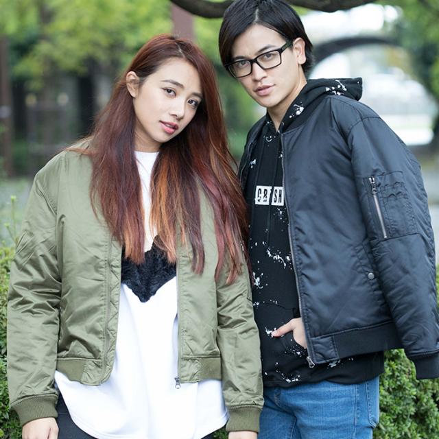 【2017秋冬新作】中綿入り ナイロン MA-1ジャケット
