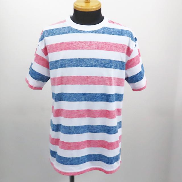 【2019春夏新作】20/-天竺 裏刷り総柄Tシャツ(ボーダー) 30枚セット