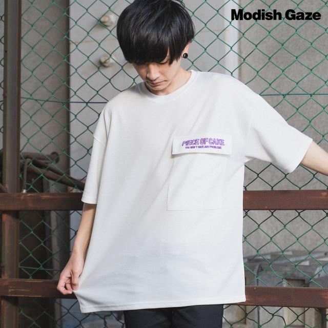 ポンチ素材 テープバックロゴ 半袖 ポケット付きTシャツ|ストリートカジュアル通販RAD CHAMP