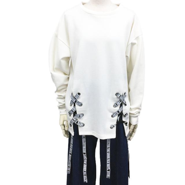 【予約販売】(8月納品)【2017秋冬新作】T/Cポンチ 裾開きロゴテープPO