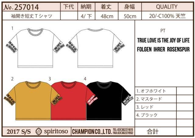 【予約販売】(4月納期)【2017春夏新作】袖開き短丈Tシャツ