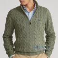 大きいサイズのラルフローレン : Cable-Knit Cotton Quarter-Zip Sweater [コットン/ケーブルニット/クオータージップ/セーター]