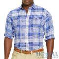 大きいサイズのラルフローレン : Plaid Linen Sport Shirt [キングサイズ/リネン/チェック/長袖シャツ]