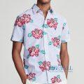 大きいサイズのラルフローレン : Classic Fit Seersucker Shirt [シアサッカー/ハイビスカス/半袖シャツ]