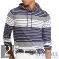 大きいサイズのラルフローレン : Striped Cotton Hooded T-Shirt [キングサイズ(日本の4L以上)/フード/ボーダー/長袖Tシャツ]