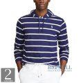 大きいサイズのラルフローレン : Striped Cotton Hooded T-Shirt [軽量柔らか/ボーダー/フード/長袖Tシャツ]