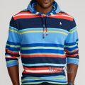 大きいサイズのラルフローレン : Striped Jersey Hooded T-Shirt [キングサイズ/ネイビーマルチ/長袖フードTシャツ]