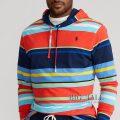 大きいサイズのラルフローレン : Striped Jersey Hooded T-Shirt [キングサイズ/レッドマルチ/長袖フードTシャツ]