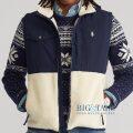 大きいサイズのラルフローレン : Fleece Hybrid Vest [ボアフリース/ナイロンパネル/ジップベスト]