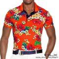 RLX ゴルフ/ラルフローレン : Tailored-Fit Floral Polo Shirt [スリム/速乾/ストレッチ/フローラル柄/半袖ポロシャツ]