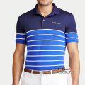 RLX ゴルフ/ラルフローレン : Custom Slim Tech Pique Polo [ややスリム/速乾/ストレッチ/ボーダー/半袖ポロシャツ]
