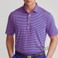 RLX ゴルフ/ラルフローレン : Classic Fit Performance Polo Shirt [ストレッチ/パープルボーダー/半袖ポロシャツ]