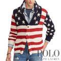 ポロラルフローレン : Flag Cotton-Blend Cardigan [コットンリネンシルク/アメリカンフラッグ/カーディガン]