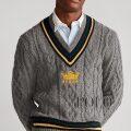 ポロラルフローレン : Embroidered Cricket Sweater [ウールナイロン/ケーブルニット/クリケットセーター]
