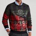 ポロラルフローレン : Plaid Skull-and-Bones Sweater [グラデーションチェック/スカル&ボーン/セーター]