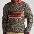 ポロラルフローレン : Flag Aran Marled Sweater [ウールブレンド/アランニット/アメリカンフラッグ/セーター]