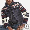 ポロラルフローレン : Paneled Full-Zip Sweater [ダウンパネル/セーター袖/アメリカフラッグ/ダウンジャケット]