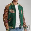 ポロラルフローレン : Varsity-Inspired Jacket [ウールブレンド/レザー袖/カレッジプリント&パッチ/スタジャン]