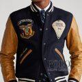 ポロラルフローレン : Leather-Sleeve Baseball Jacket [ウール/レザー袖/US空軍/スタジャン]