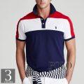 ポロラルフローレン : Custom Slim Fit Mesh Polo [ややスリム/アメリカンカラーブロック/半袖ポロシャツ]