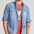 ポロラルフローレン : Ralph's Marina Shirt [ゆったり/コットンチノ/カジキ刺繍/長袖シャツ]