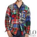 ポロラルフローレン : Standard Fit Cotton Workshirt [ゆったり/コットン/チェックパッチワーク/長袖シャツ]
