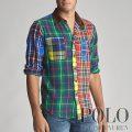 ポロラルフローレン : Custom Fit Plaid Fun Shirt [ややスリム/チェック柄パッチワーク/長袖シャツ]
