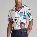 ポロラルフローレン : Custom Fit Sailboat Shirt [ややスリム/軽量/開襟/セイルボート/半袖シャツ]