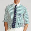 ポロラルフローレン : Custom Fit Striped Shirt [ややスリム/クラブ襟/テニス刺繍/ストライプ/長袖シャツ]
