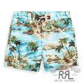 RRL/ダブルアールエル : Hawaiian Cotton-Blend Short [ゆったりストレート/アロハ柄/スイム風ショートパンツ]