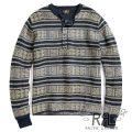 RRL/ダブルアールエル : Cotton-Blend Henley Sweater [テキスタイルボーダー/ヘンリー/セーター]